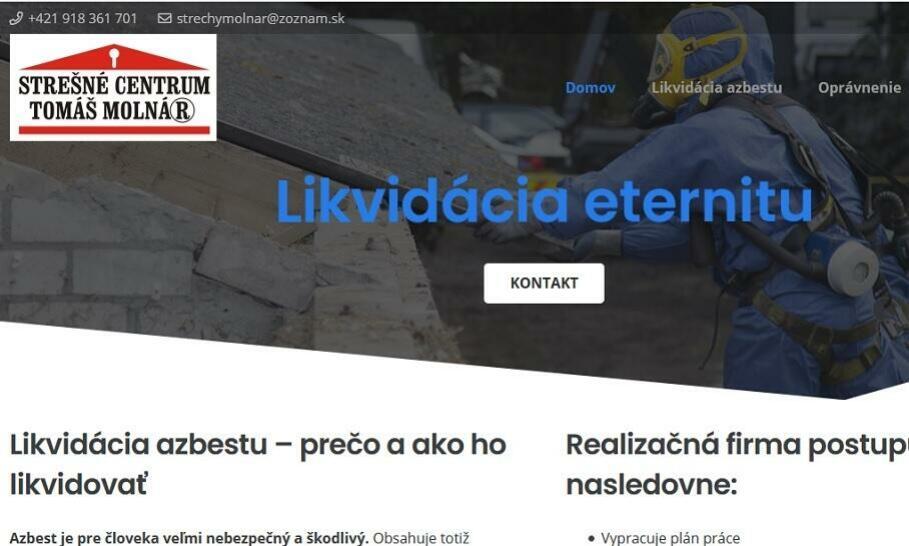 STREŠNÉ CENTRUM TOMÁŠ MOLNÁR - bezpečná likvidácia azbestu