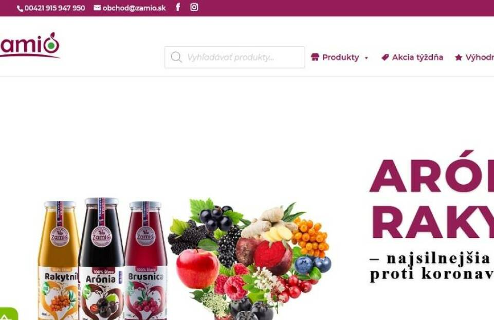 Zamio, s. r. o. – BIO ovocie pre vaše zdravie (arónia, čierne ríbezle, baza čierna)